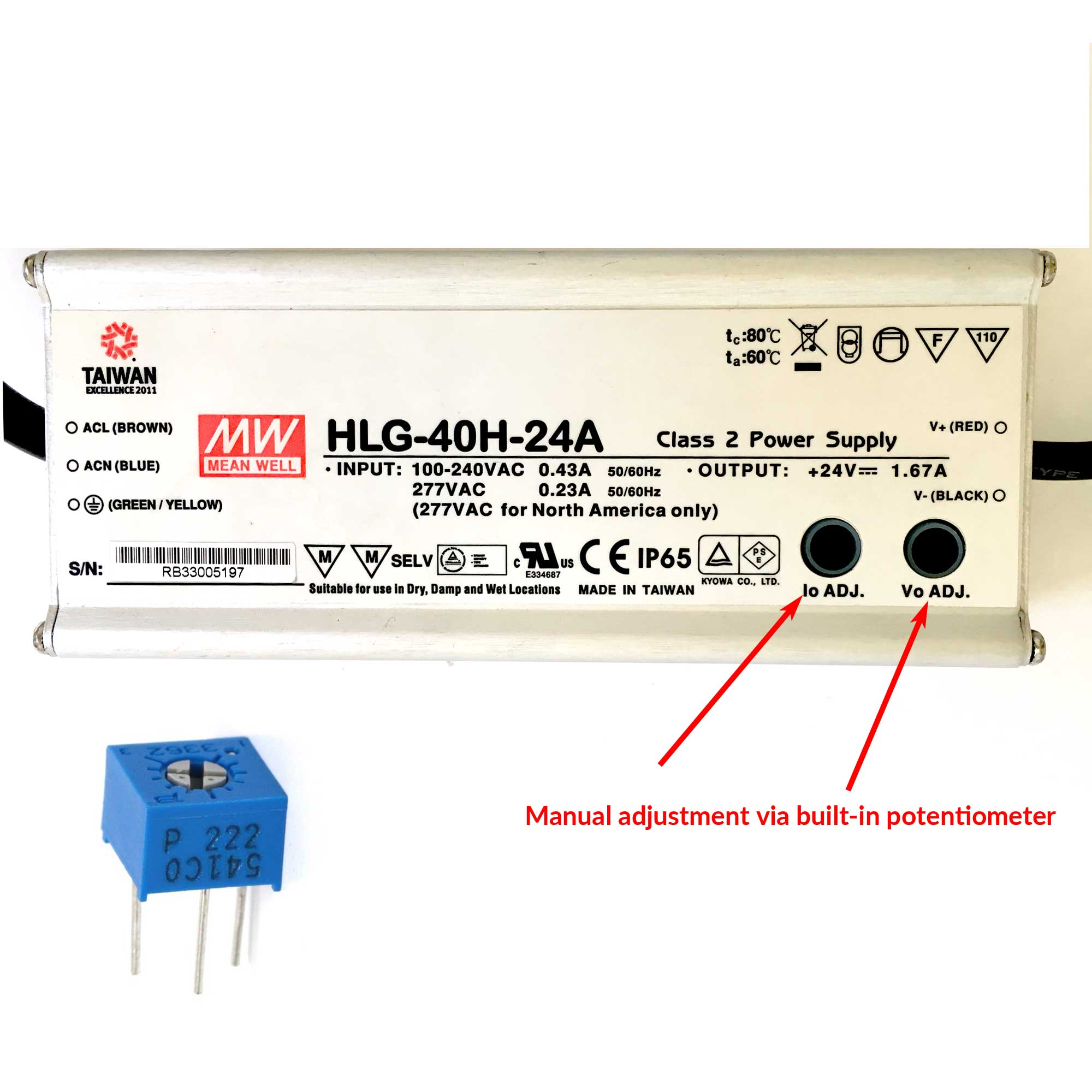 How Do Meanwell Hlg Led Power Supplies Work Waveform Lighting Potentiometer Wiring Diagram On The Top Side Of Type A You Will See Two Holes Marked Io Adj And Vo Inside Hole Is Trim Trimpot