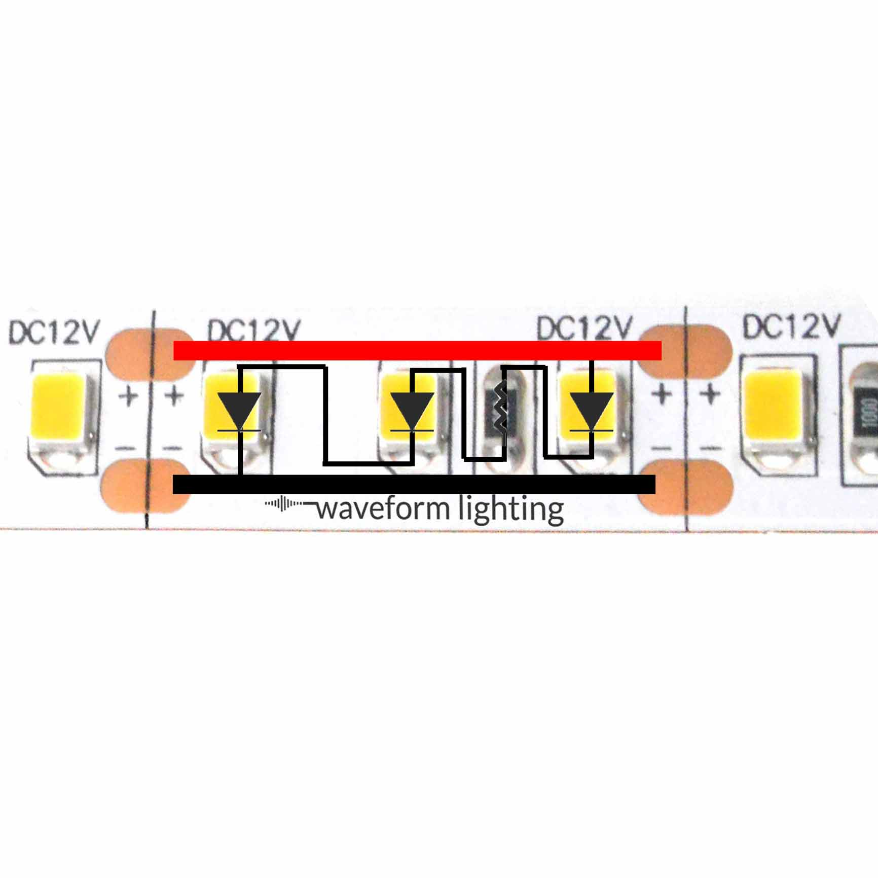 Led Strip Light Internal Schematic And Voltage Information 120 Volt 4 Circuit What Happens To Leds In Parallel The Remains Same But Current Is Split Equally Among Each Of Circuits
