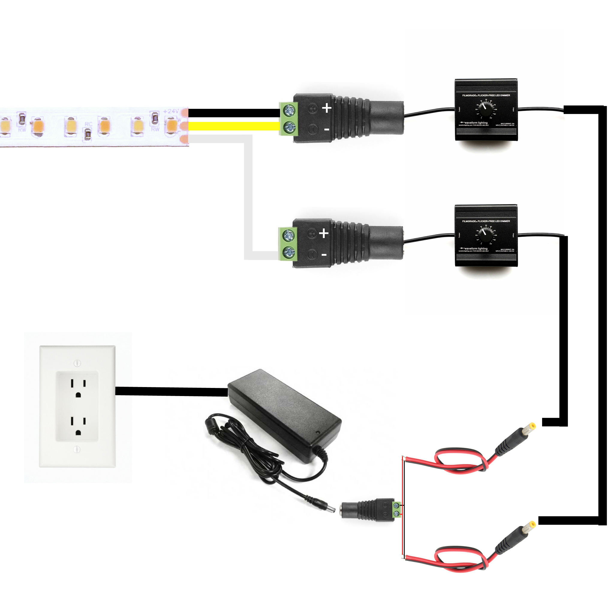 How To Connect Hybrid Cct Tunable Led Products Waveform Lighting You Can See Circuit Examples For And Dc Lamp Dimming Controller This Work The Two Dimmers Must Be Connected Same Power Supply Reason Is That If Pull From Different